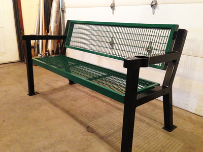 two tone color steel bench