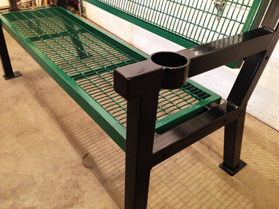 steel bench cup holder